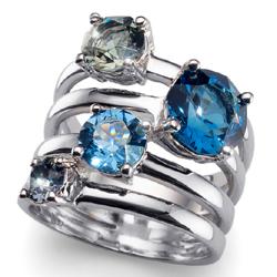 Prsten s krystaly Swarovski Oliver Weber Duo Blue