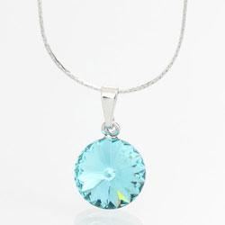 Náhrdelník s krystalem Swarovski Rivoli 12 Light Aqua
