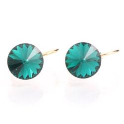 Náušnice s krystaly Swarovski Rivoli Gold Emerald