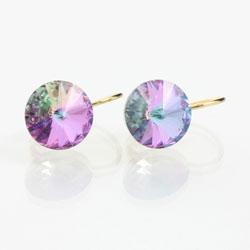 Náušnice s krystaly Swarovski Rivoli Gold Violet