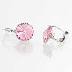Náušnice s krystaly Swarovski Rivoli 12 Light Rose