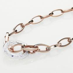 Ocelový náhrdelník Storm Crysta Loop RoseGold