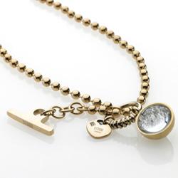 Ocelový náhrdelník Storm Crysta Ball Gold