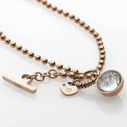 Ocelový náhrdelník Storm Crysta Ball Rose Gold