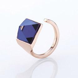 Ocelový prsten Storm Gemza Rose Gold Blue