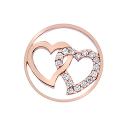Obrázek è. 2 k produktu: Pøívìsek Hot Diamonds Emozioni Double Heart Rose Gold Coin
