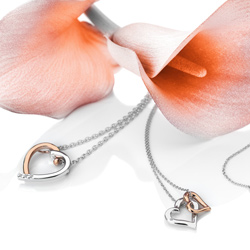 Obrázek è. 6 k produktu: Støíbrný pøívìsek Hot Diamonds Glide Double Heart Rose Gold