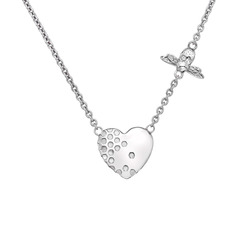 Stříbrný náhrdelník Hot Diamonds Nature Honey Bee Heart DN145