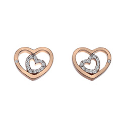 Stříbrné náušnice Hot Diamonds Adorable Encased Rose Gold DE549