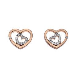 Stříbrné náušnice Hot Diamonds Adorable Encased Rose Gold DE549