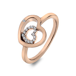 Stříbrný prsten Hot Diamonds Adorable Encased Rose Gold DR202