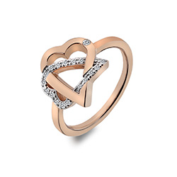 Stříbrný prsten Hot Diamonds Adorable Rose Gold DR204