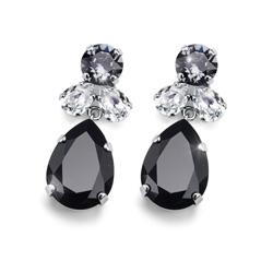 Náušnice s krystaly Swarovski Oliver Weber Jazzy black 22724-BLA
