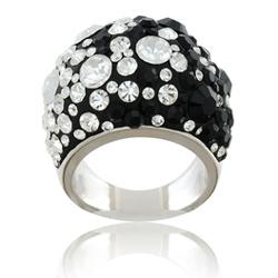 Prsten s krystaly Swarovski Black White Large