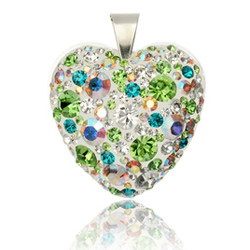 St��brn� p��v�sek s krystaly Swarovski Colourful World Heart