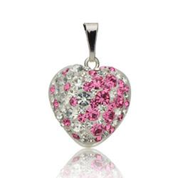 Stříbrný přívěsek s krystaly Swarovski Romantic Heart