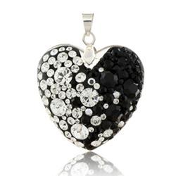 Stříbrný přívěsek s krystaly Swarovski Black White Heart