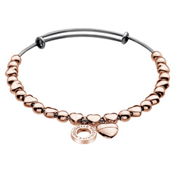 Ocelový náramek Hot Diamonds Emozioni Heart Rose Gold