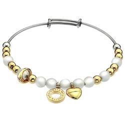 Ocelový náramek Hot Diamonds Emozioni Faux Mother of Pearl Gold