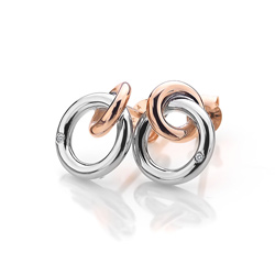 Obrázek è. 2 k produktu: Støíbrné náušnice Hot Diamonds Eternity Interlocking Rose Gold Stud DE309