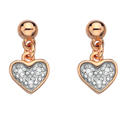 Stříbrné náušnice Hot Diamonds Stargazer Heart Rose Gold