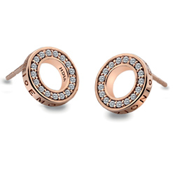 Støíbrné náušnice Hot Diamonds Emozioni Saturno Rose Gold