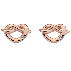 Støíbrné náušnice Hot Diamonds Infinity Heart Rose Gold