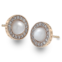 Støíbrné náušnice Hot Diamonds Emozioni Giove Pearl Rose Gold