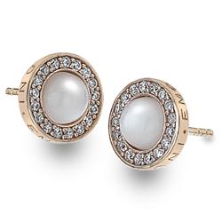 Stříbrné náušnice Hot Diamonds Emozioni Giove Pearl Rose Gold
