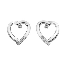 Støíbrné náušnice Hot Diamonds Glide Heart