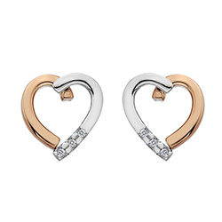 Støíbrné náušnice Hot Diamonds Glide Heart Rose Gold