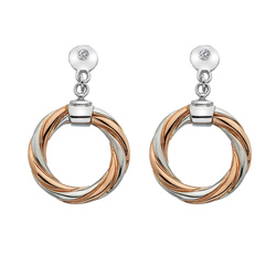 Støíbrné náušnice Hot Diamonds Breeze Rose Gold