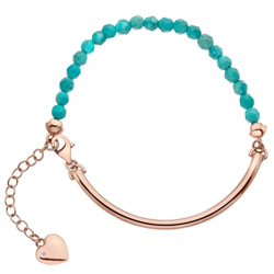 Støíbrný náramek Hot Diamonds Festival Turquoise Rose Gold