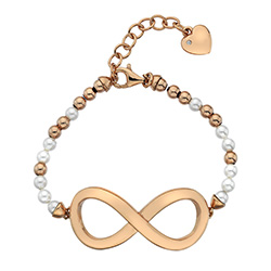 Stříbrný náramek Hot Diamonds Infinity Bead Pearl Large Rose Gold