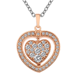 Støíbrný náhrdelník Hot Diamonds Turning Heart Rose Gold