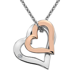 Støíbrný pøívìsek Hot Diamonds Glide Double Heart Rose Gold