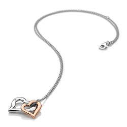 Obrázek è. 2 k produktu: Støíbrný pøívìsek Hot Diamonds Glide Double Heart Rose Gold