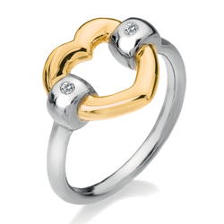 Stříbrný prsten Hot Diamonds Just Add Love Bonded Gold