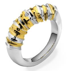 Støíbrný prsten Hot Diamonds By The Shore Gold Large