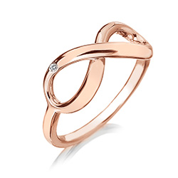 Stříbrný prsten Hot Diamonds Infinity Rose Gold