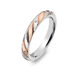 Støíbrný prsten Hot Diamonds Breeze Rose Gold