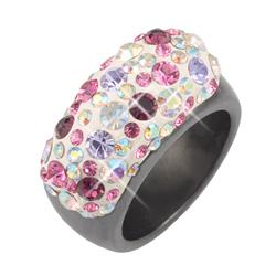 Prsten s krystaly Swarovski Hematit Floral Beauty Large