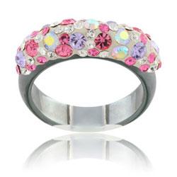 Prsten s krystaly Swarovski Hematit Floral Beauty Slim