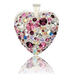 Stříbrný přívěsek s krystaly Swarovski Flower Heart