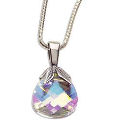 Stříbrný náhrdelník s krystalem Swarovski Briolette Crystal