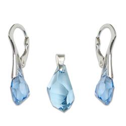 Stříbrný set s krystaly Swarovski Polygon Aquamarin