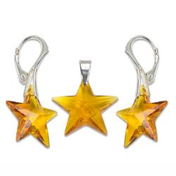 Stříbrný set s krystaly Swarovski Star Topaz