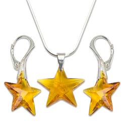 Stříbrná sada s krystaly Swarovski Star Topaz