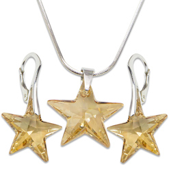 Stříbrná sada s krystaly Swarovski Star Golden Shadow