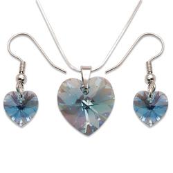 Stříbrná sada s krystaly Swarovski Aquamarine
